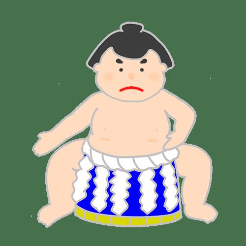赤ちゃんを抱いている力士のイラスト