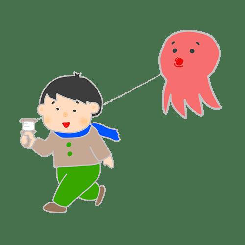 凧あげをしている男の子のイラスト