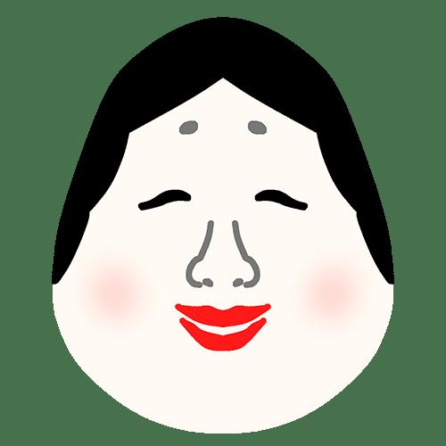 おかめのお面のイラスト