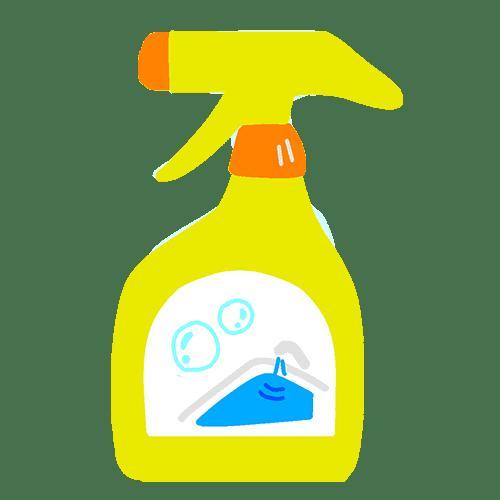スプレーボトルに入ったお風呂用洗剤のイラスト