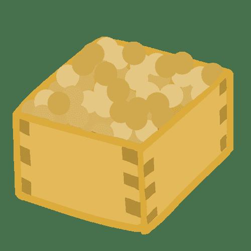 升に入った豆のイラスト