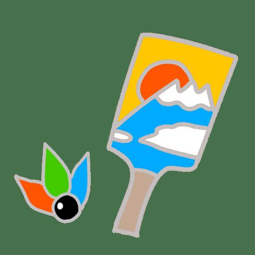 羽子板と羽根のイラスト