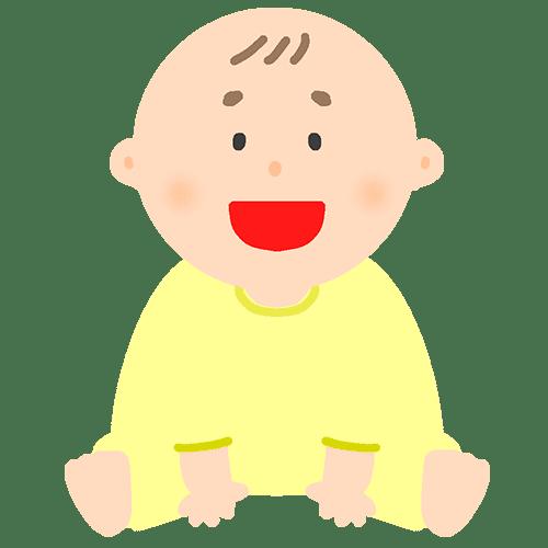 1人で座っている赤ちゃんのイラスト