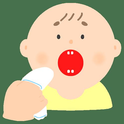ガーゼで歯磨きをする赤ちゃんのイラスト