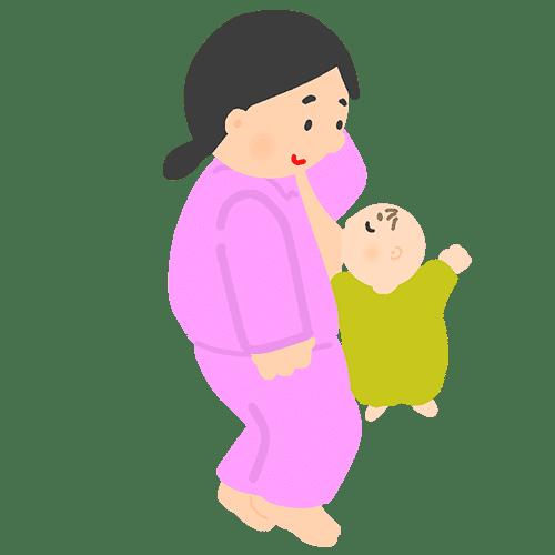 寝ながら赤ちゃんに授乳している女性のイラスト