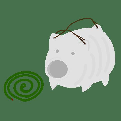 豚の蚊取り線香のイラスト
