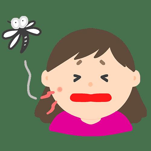 ほっぺを蚊に刺されている女の子のイラスト