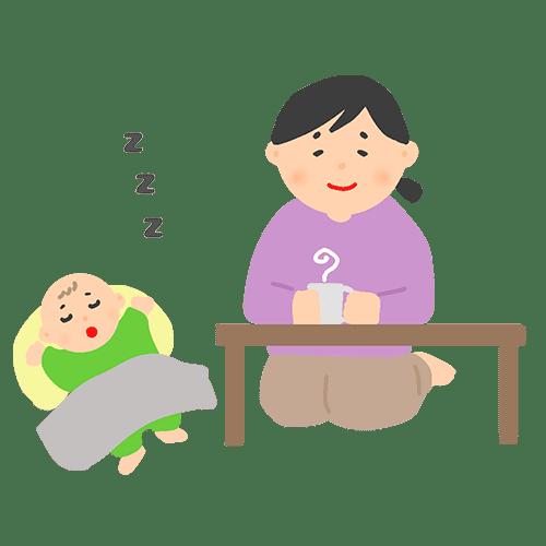 昼寝している赤ちゃんと見守る女性のイラスト