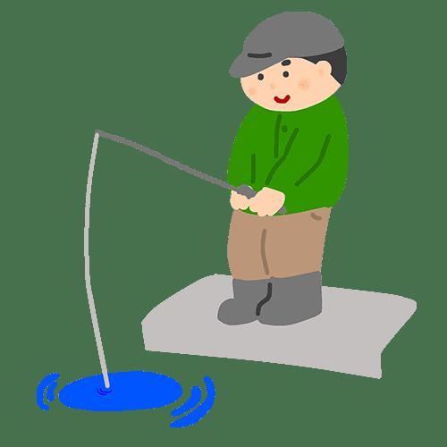 釣りをしている人のイラスト