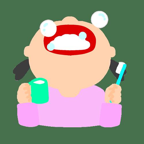 歯磨きの時にうがいをする女の子のイラスト