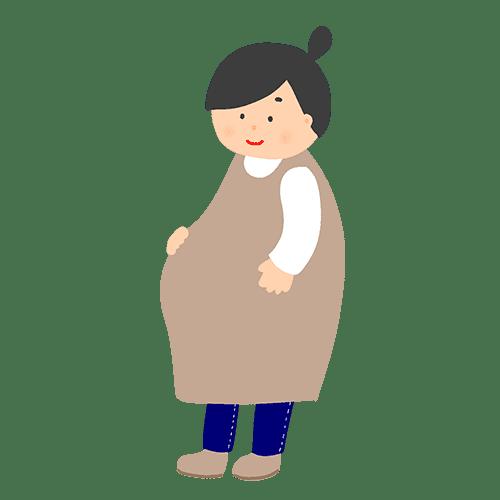 お腹に手を当てる妊婦のイラスト