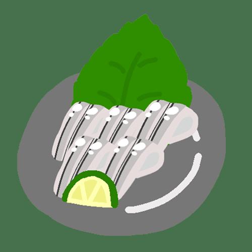 きびなごの刺身のイラスト