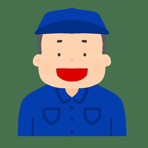 男性作業員の喜怒哀楽のイラスト(笑顔)