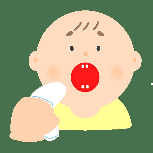ガーゼで歯を磨く赤ちゃんのイラスト