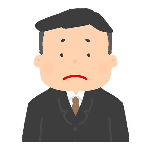 スーツを着た男性のイラスト(悲しい)