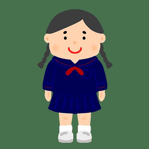 セーラー服を着た女子学生のイラスト
