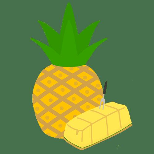 丸ごと&カットパイナップルのイラスト