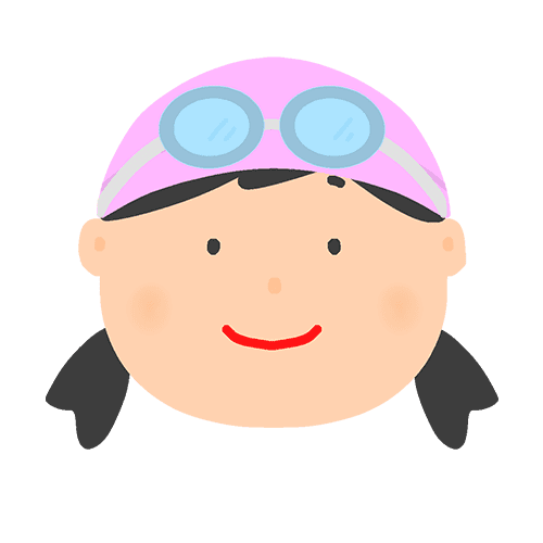 ゴーグル&水泳キャップをつけた女の子のイラスト