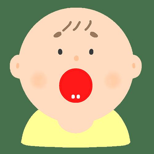 下の乳歯が生えた赤ちゃんのイラスト