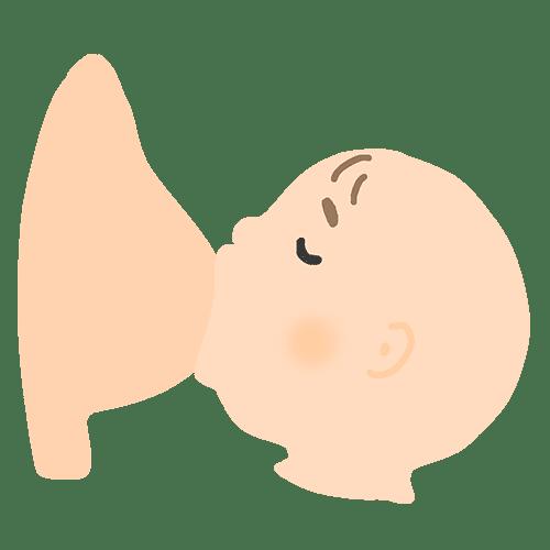 授乳をする赤ちゃんのイラスト