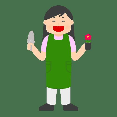 園芸をする女性のイラスト