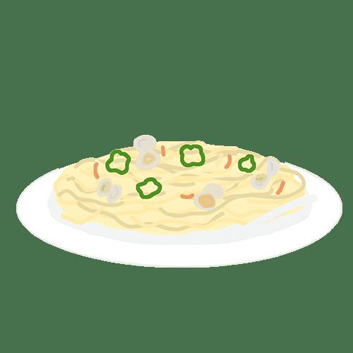 ボンゴレスパゲティのイラスト