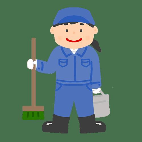 女性清掃作業員のイラスト