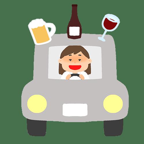 飲酒運転をする女性のイラスト
