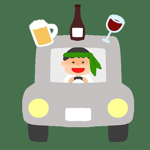 飲酒運転をする男性のイラスト